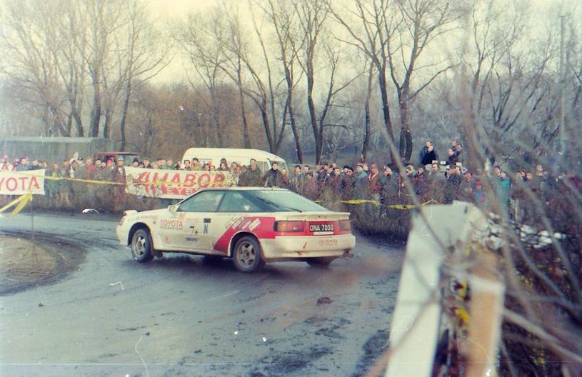 Krzysztof Hołowczyc i Robert Burchardt na trasie 31. Rajdu Barbórka, grudzien 1993 /