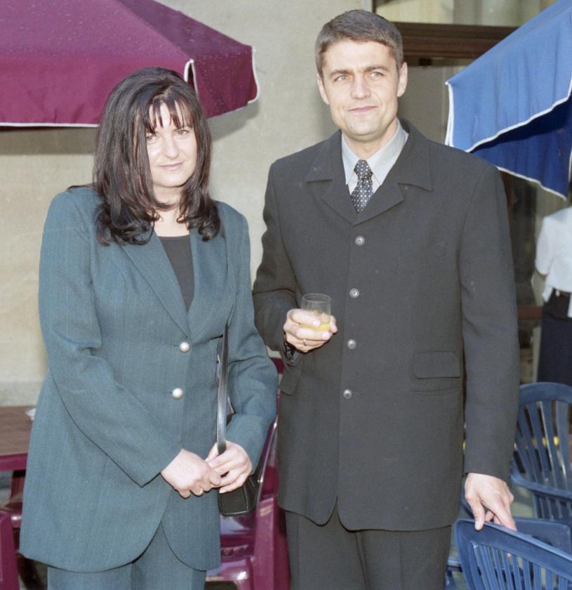 Krzysztof Hołowczyc z żoną Danutą, 1999 r. /Zenon Zyburtowicz /East News
