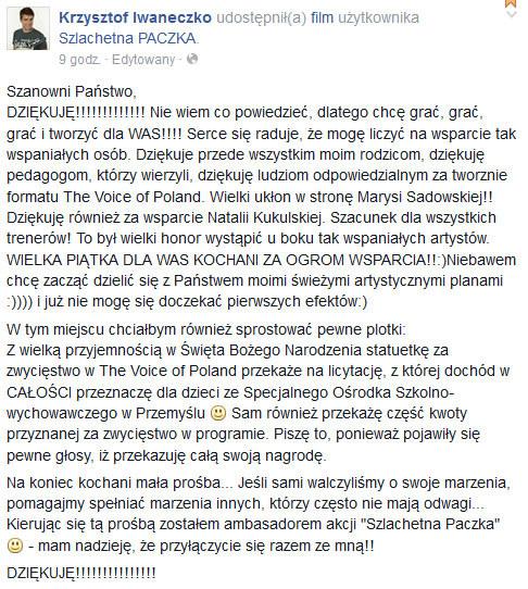 Krzysztof Iwaneczko na swoim Facebooku po zwycięstwie /