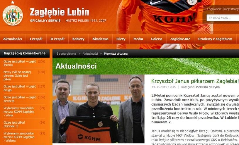 Krzysztof Janus już w Zagłębiu Lubin; źródło: zaglebie.com /