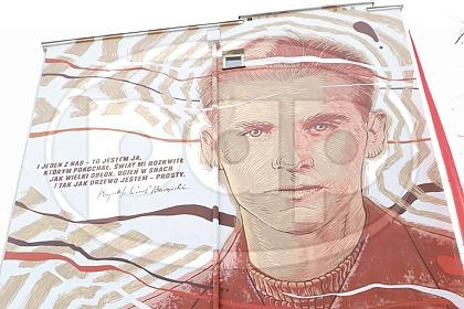 Krzysztof Kamil Baczyński - mural przy ul. Solec 85 w Warszawie / Albert Zawada /PAP