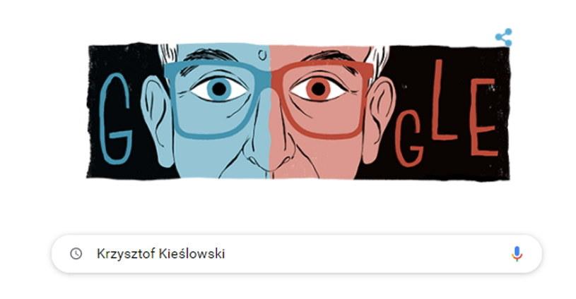 Krzysztof Kieślowski w Google Doodle. Wybitny polski reżyser i scenarzysta zmarł 14 marca 1996 roku. Gdyby żył, 27 czerwca 2021 roku miałby 80 lat. Fot. Google/Interia /materiały prasowe