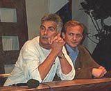 """Krzysztof Krauze i Andrzej Chyra podczas konferencji prasowej filmu """"Wielkie rzeczy: Gra"""" w Gdyni /"""