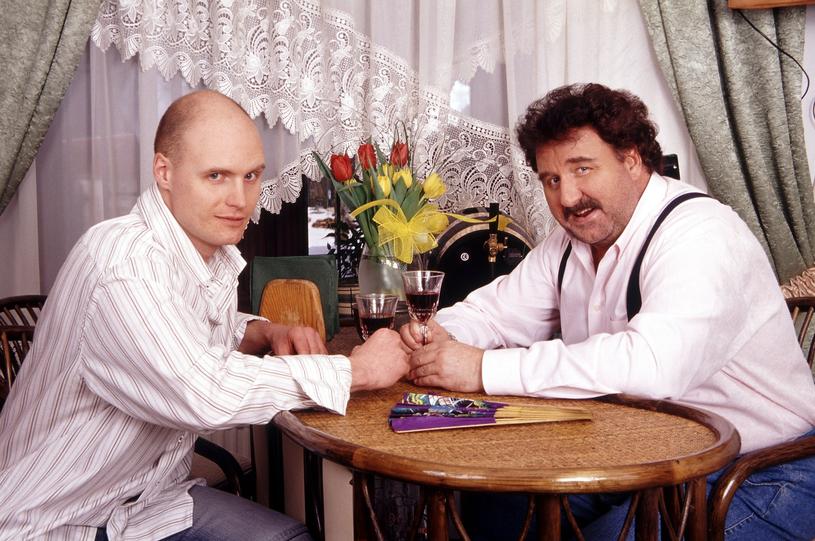 Krzysztof Krawczyk z synem w 2004 r. /Michał Hetmanek /Reporter