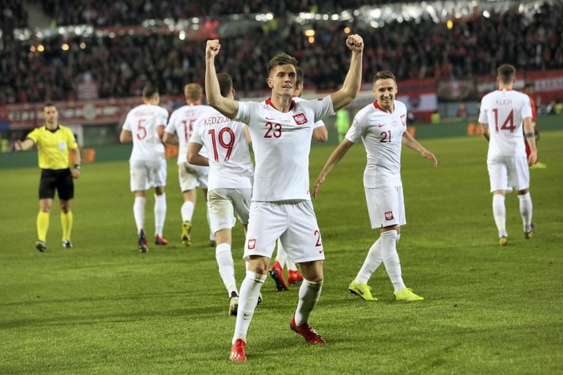 Krzysztof Piątek (C) po strzeleniu gola w inauguracyjnym meczu eliminacji mistrzostw Europy 2020 grupy G z Austrią /Leszek Szymański   /PAP