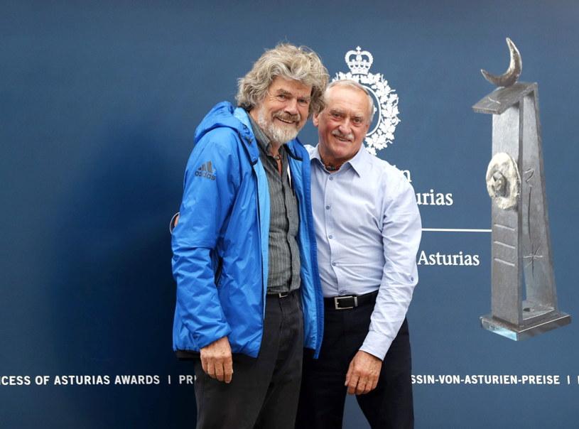 Krzysztof Wielicki i Reinhold Messner /J.L.Cereijido /PAP/EPA