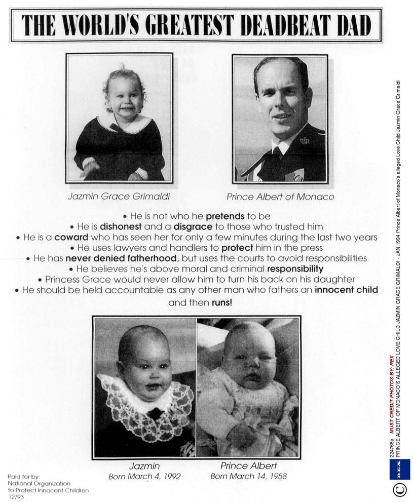 Książę Albert początkowo nie chciał przyznać, że Jazmin jest jego córką /REX /East News