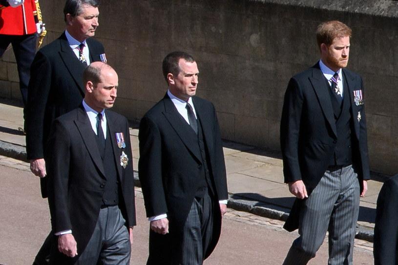 Książę Harry, Peter Phillips i książę William /Pool /Agencja FORUM