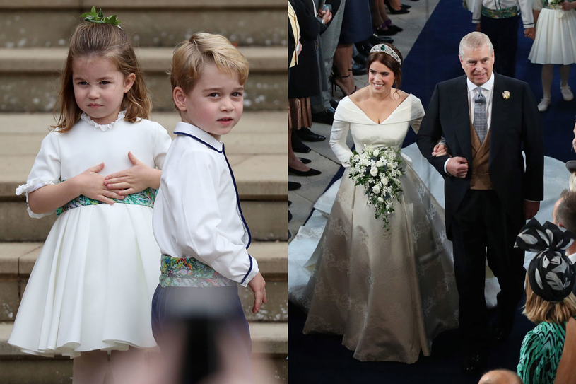 Księżniczka Charlott i książę George oraz księżniczka Eugenia prowadzona przez ojca /AFP