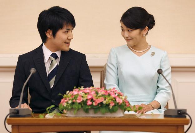 Księżniczka Mako i Kei Komuro na zdjęciu z 2017 roku /SHIZUO KAMBAYASHI  /PAP/EPA