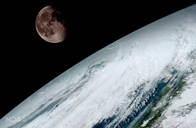 Księżyc wyglądajacy zza Ziemi GOES-16 fotografuje dla celów kalibracyjnych /NOAA/NASA /materiały prasowe
