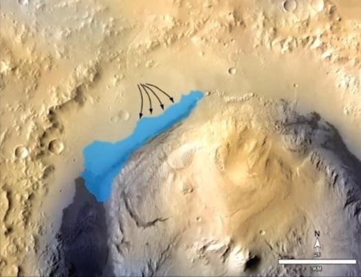Kształt jeziora wewnątrz krateru Gale /NASA