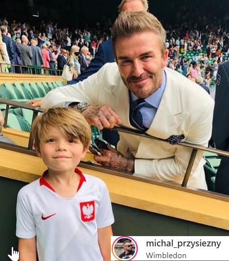 Kuba i David Beckham na meczu // https://www.instagram.com/michal_przysiezny/ /Instagram /Instagram