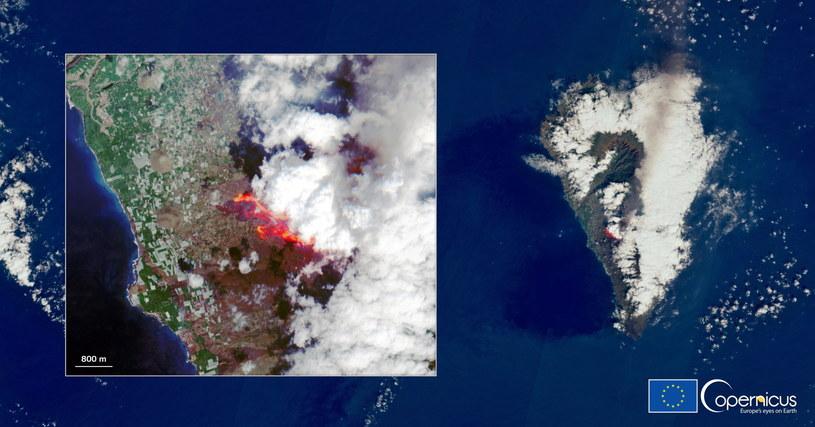 La Palma widziana z kosmosu /EUROPEAN UNION, COPERNICUS SENTINEL-2 IMAGERY HANDOUT /PAP/EPA
