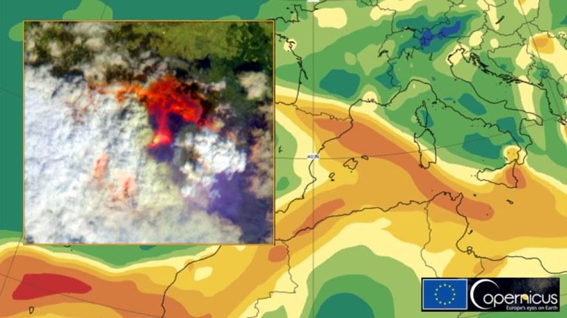 La Palma. Wybuch wulkanu widziany z kosmosu. W jakim kierunku zmierza toksyczna chmura? , fot. Twitter /