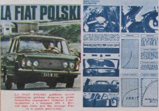 LA POLSKI FIAT poddany został rozlicznym próbom drogowym przez francuskie czasopismo fachowe L'auto-journal z 5 sierpnia 1971 r. Wynik tego testu jest dla naszego Fiata w sumie pozytywny. /Fiat