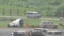 Lądował w ulewie, zgubił silnik i koło. Chwile grozy na lotnisku w Manili
