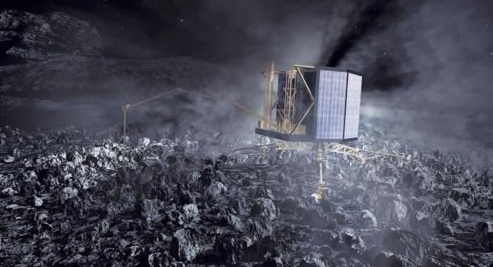 Lądownik Philae na komecie - wizualizacja graficzna przygotowana przez ESA /materiały prasowe