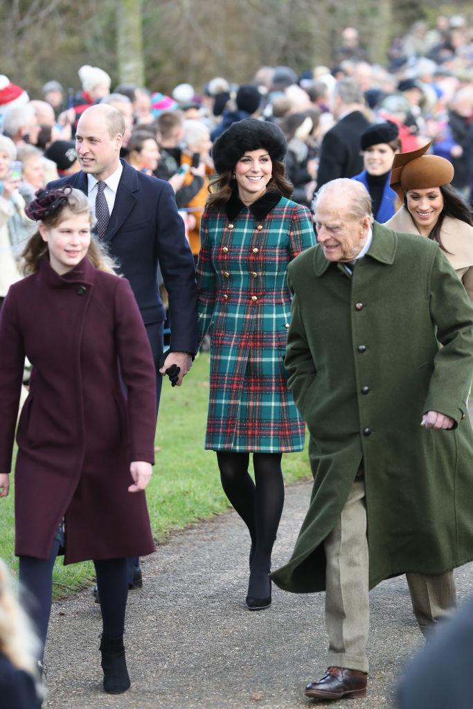 Lady Ludwika Windsor z księciem Filipem i księżną Kate /Getty Images