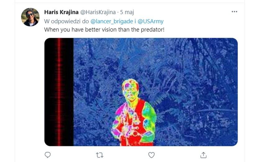 """Lancer Brigade i kadr z kultowego filmu """"Predator"""" - kosmita z filmu miał technologię, która dzisiaj staje się rzeczywistością /Twitter"""