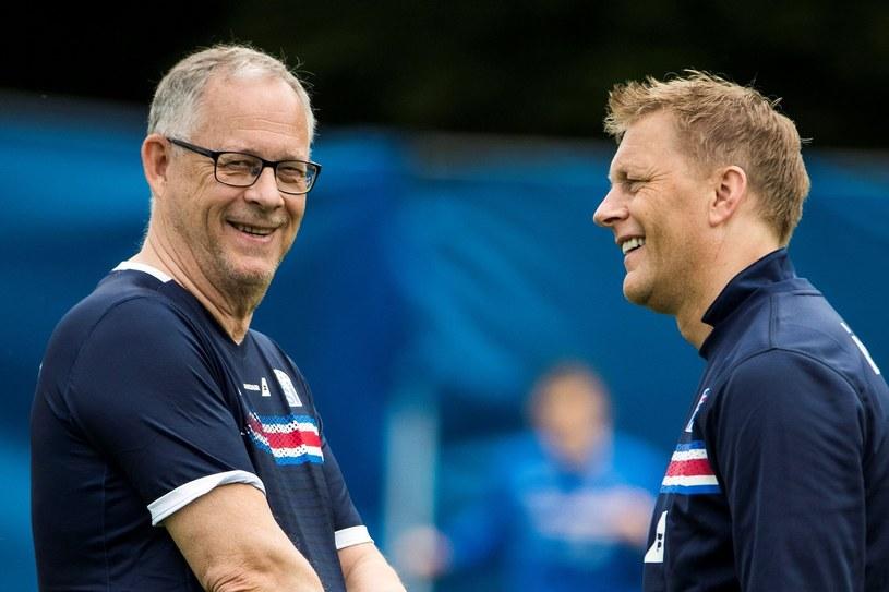 Lars Lagerbaeck (z lewej) i Heimir Hallgrimsson /AFP