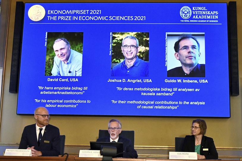 Laureaci tegorocznej Nagrody Nobla z ekonomii /TT NEWS AGENCY/Associated Press /East News