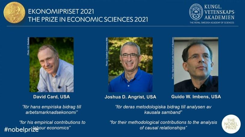 Laureatami Nagrody Nobla z ekonomii 2021 zostali David Card, oraz wspólnie Joshua D. Angrist i Guido W. Imbens