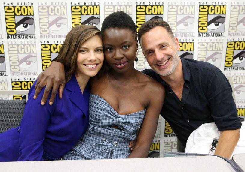 Lauren Cohan, Danai Gurira i Andrew Lincoln podczas San Diego Comic Con 2018 /Jesse Grant /Getty Images