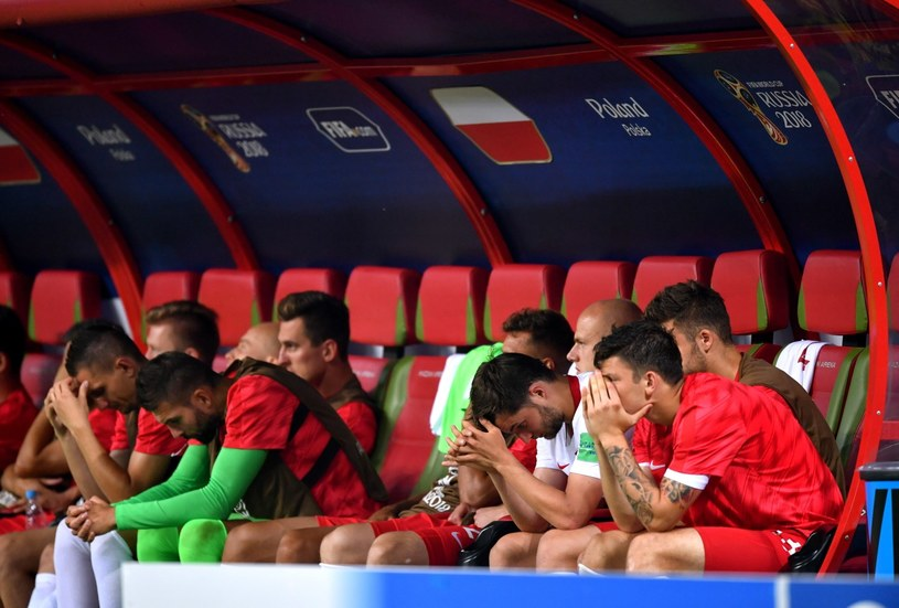 Ławka rezerwowych reprezentacji Polski po meczu grupy H piłkarskich mistrzostw świata z Kolumbią /Bartłomiej  Zborowski /PAP