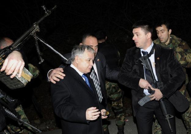 Lech Kaczyński podczas incydentu w Gruzji /AFP