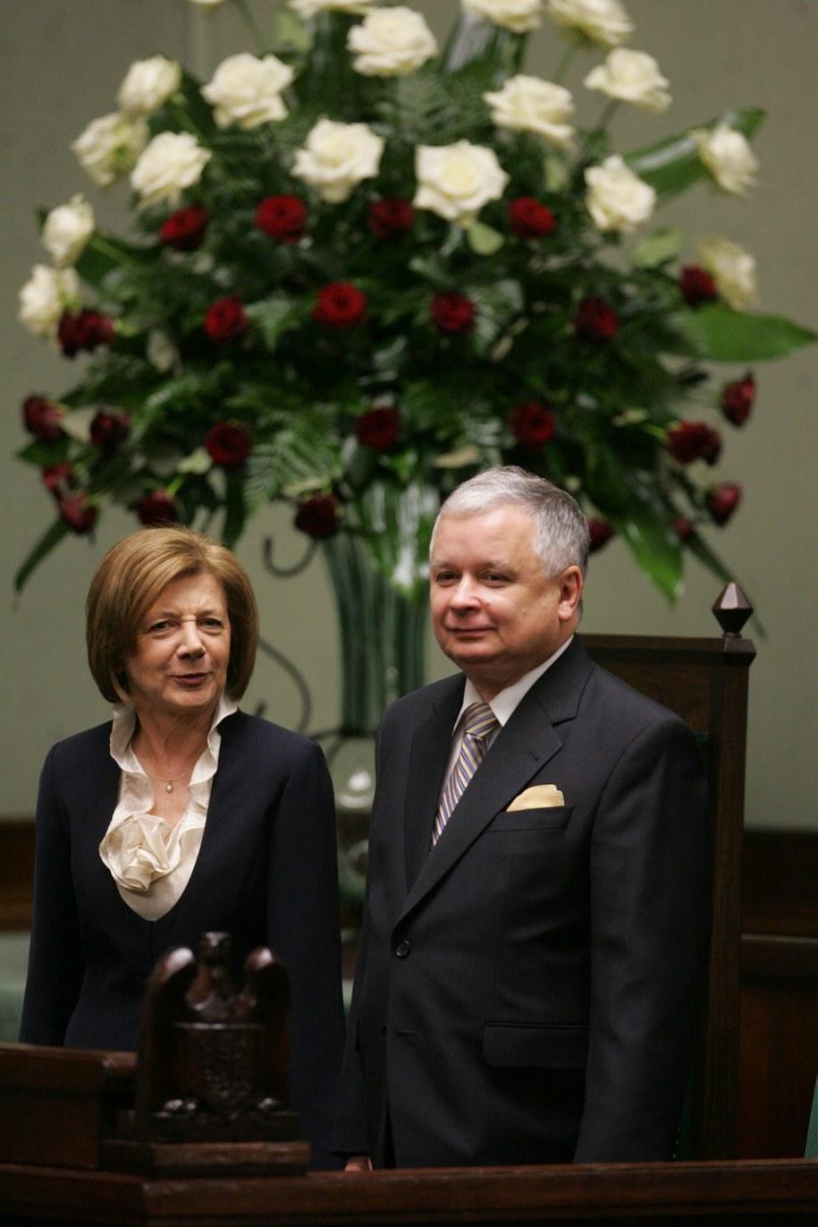 Lech Kaczyński z małżonką Marią Kaczyńską /Bartłomiej Zborowski  (PAP) /PAP