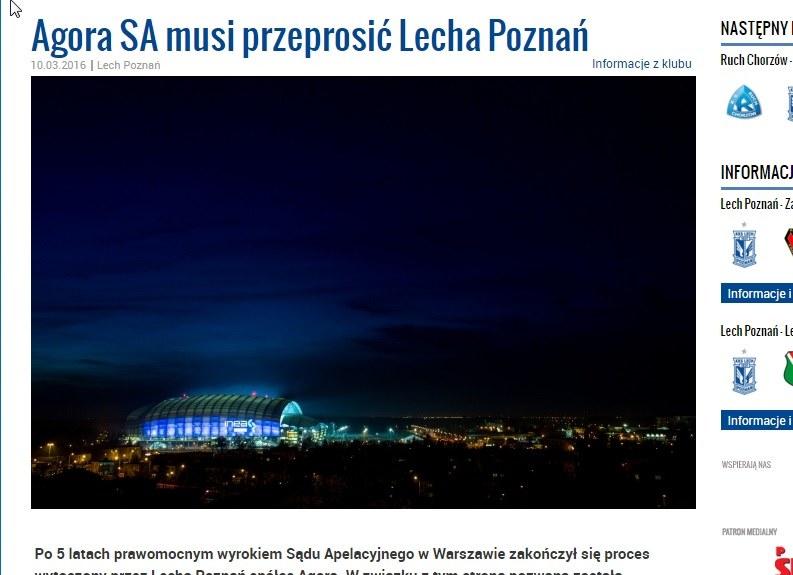 Lech Poznań poinformował o wygranym procesie z Agorą SA. /INTERIA.PL