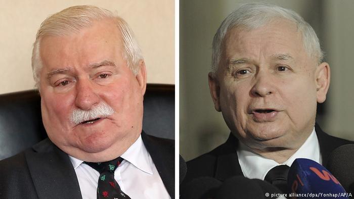 Lech Wałęsa i Jarosław Kaczyński, fot. picture alliance/dpa/Yonhap/AP/A /