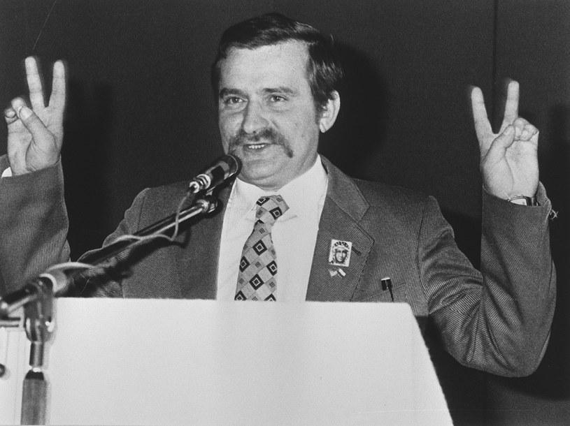 """Lech Wałęsa jako lider """"Solidarności"""", zdj. archiwalne z 1981 roku /AFP"""