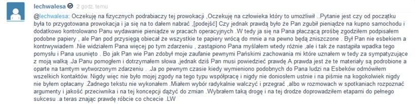 """Lech Wałęsa skierował na mikorblogu specjalną wiadomość do wspominanego w ostatnich dniach """"człowieka sprawcy"""", który ma znać prawdę nt. jego rzekomej współpracy z SB /Wykop.pl /"""