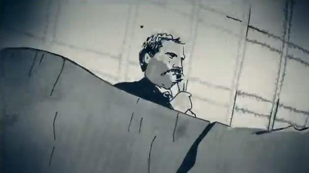 Lech Wałęsa w animowanym teledysku promującym film Andrzeja Wajdy. /materiały dystrybutora