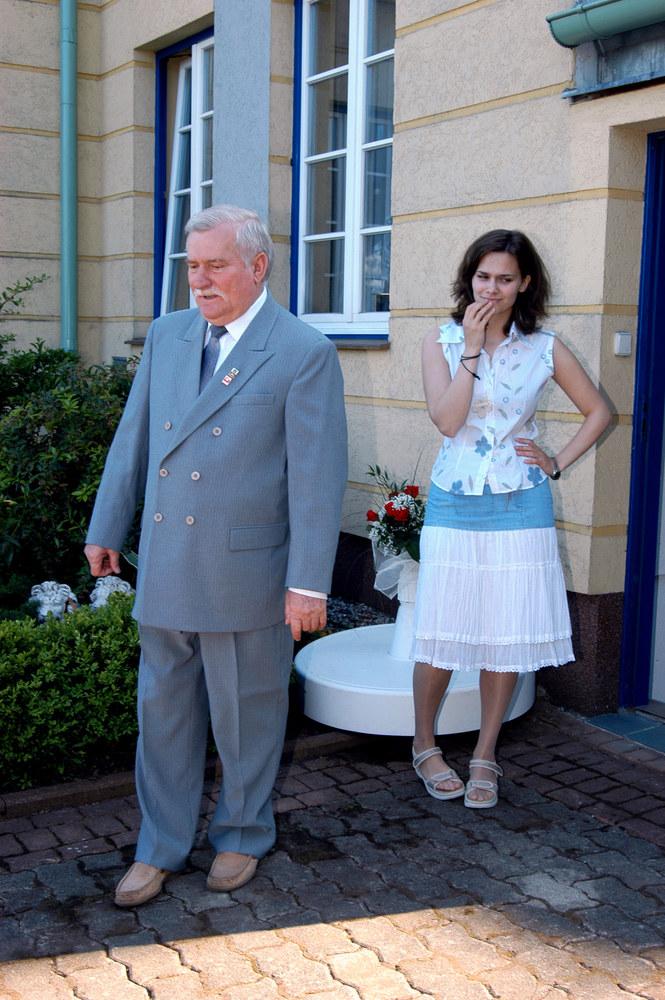 Lech Wałęsa z córką Brygidą /Niemiec /AKPA