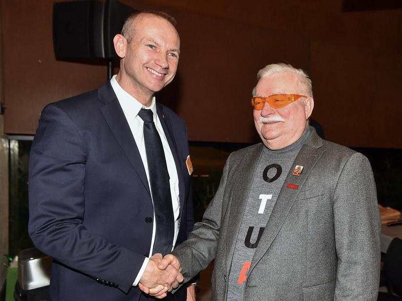 Lech Wałęsa z mężem córki Lechem Wałęsą (Kaźmierczykiem) / Łukasz Dejnarowicz  /Agencja FORUM