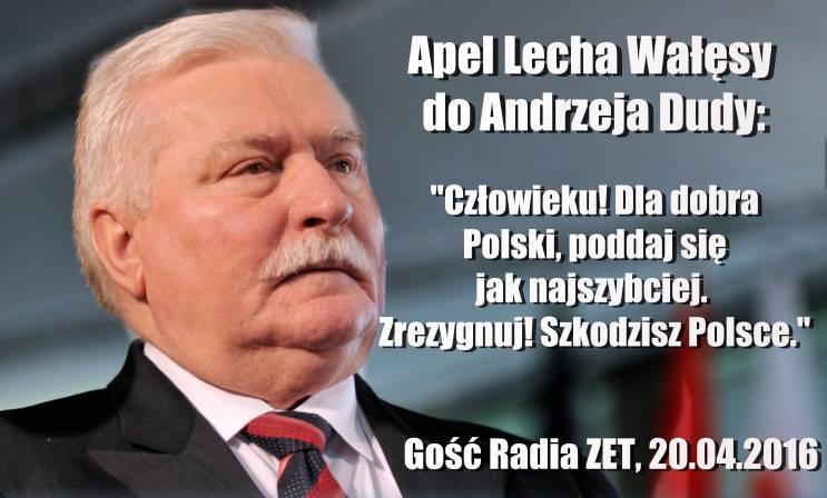 Lech Wałęsa zaapelował do Andrzeja Dudy /