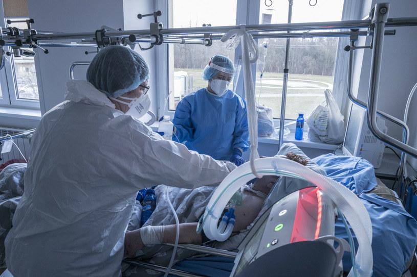 Leczenie pacjenta z COVID-19 /Marek Berezowski /Reporter
