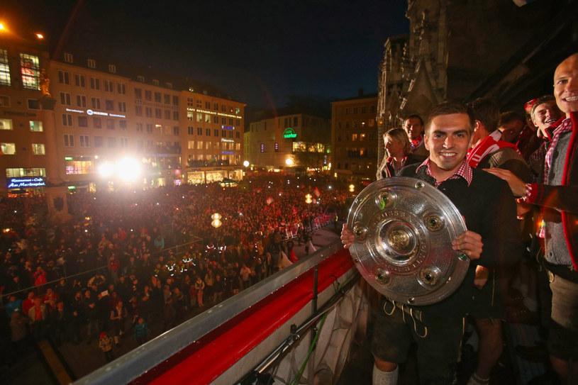 Legenda Bayernu Philipp Lahm podczas świętowania tytułu /East News
