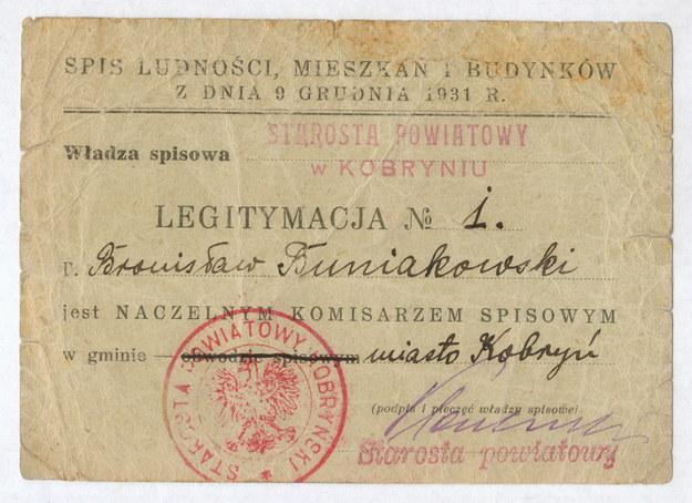 Legitymacja Naczelnego Komisarza Spisowego w Kobryniu, 9 grudnia 1931 /Leszek Kasprzak /Agencja FORUM
