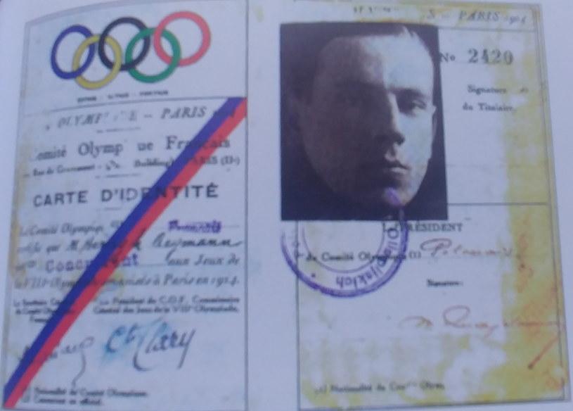 Legitymacja olimpijczyka Henryka Reymana z IO 1924 r. w Paryżu /
