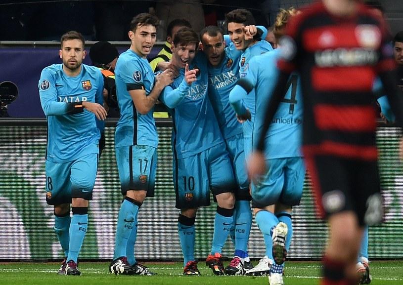 Leo Messi cieszy się po strzeleniu gola Bayerowi /AFP