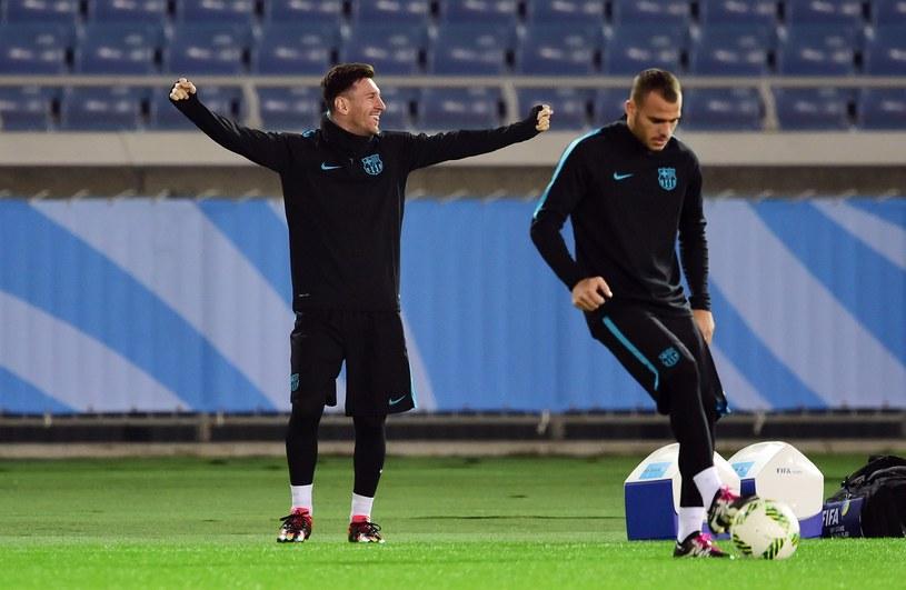 Leo Messi podczas wczorajszego treningu w Japonii /AFP