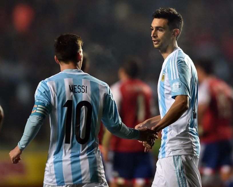 Leo Messi (z lewej) i Javier Pastore /AFP