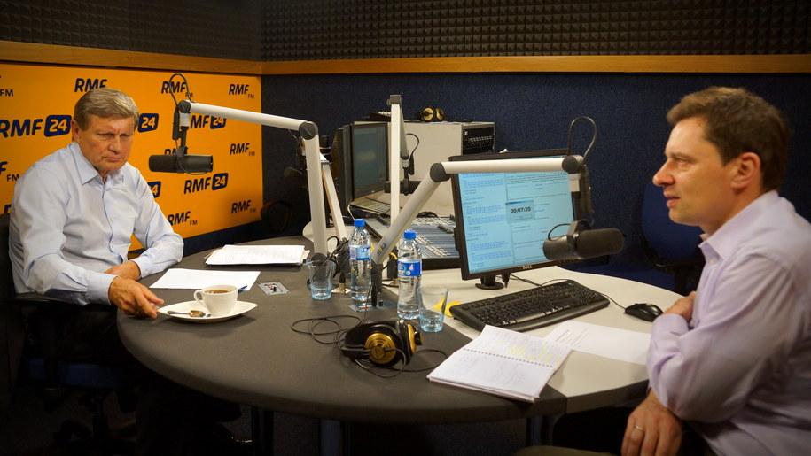 Leszek Balcerowicz i Krzysztof Ziemiec w studiu RMF FM /Michał Dukaczewski /RMF FM