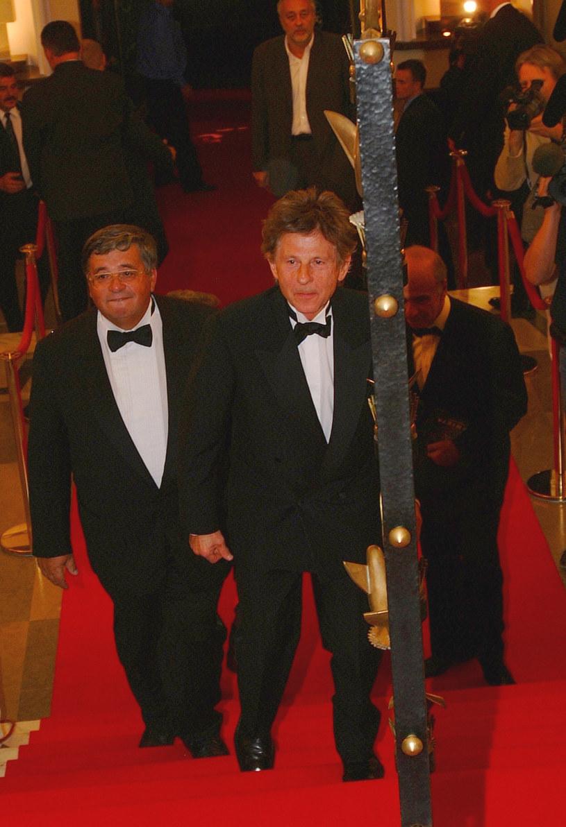 """Lew Rywin z Romanem Polańskim na premierze filmu """"Pianista"""" w Warszawie, 6 września 2002 /AKPA"""