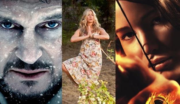 Liam Neeson (L) i Jennifer Lawrence (P) walczą o przetrwanie, Jennifer Aniston (C) ćwiczy jogę /materiały dystrybutora