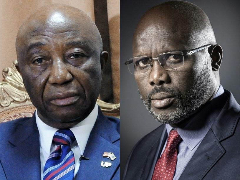 Liberyjczycy wybierają nowego prezydenta: Od lewej wiceprezydent Joseph Boakai oraz senator i były piłkarz George Weah /JOEL SAGET, Zoom DOSSO /AFP